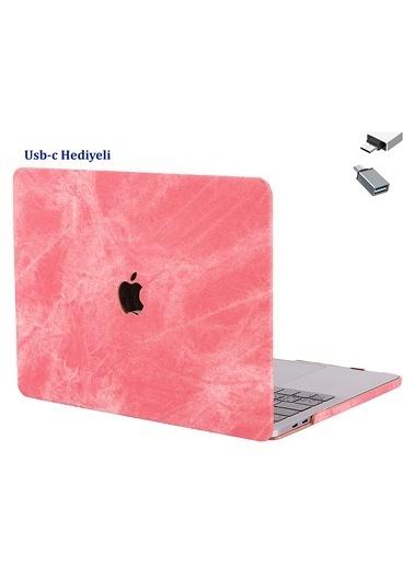 """Mcstorey Yeni MacBook Pro Type-c A1706 A1708 A1989 A2159 13"""" Kılıf Kapak Koruma  Kumaş 01-A33-1485 Pembe"""